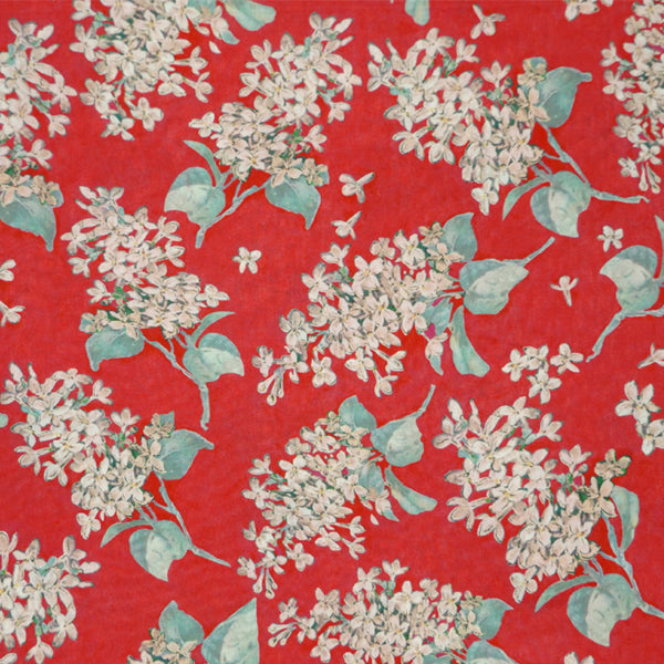 CORAL RED FLORAL 'ARCHIVE LILAC' LIBERTY LAWN COTTON HANDKERCHIEF