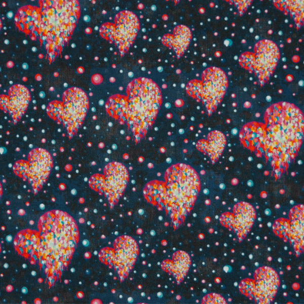 MULTICOLORED PRINT 'COSMIC HEARTS' LIBERTY LAWN COTTON HANDKERCHIEF