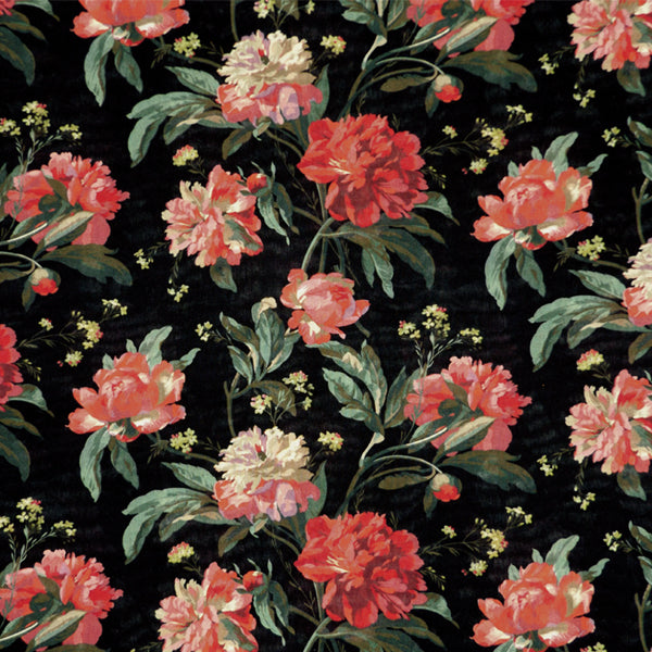 CORAL RED & MULTICOLOR FLORAL 'DECADENT BLOOMS' LIBERTY LAWN COTTON HANDKERCHIEF