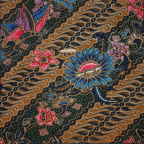 DIAGONAL STRIPE FLORAL BATIK POCKET SQUARE HANDKERCHIEF