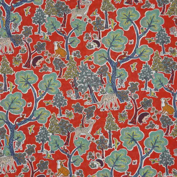 RED & MULTICOLOR 'DOE A DEER' LIBERTY LAWN COTTON HANDKERCHIEF