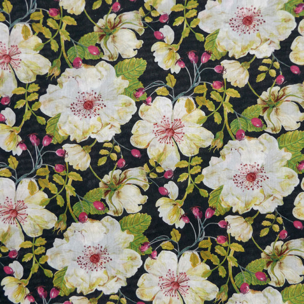 CREAM & BLACK FLORAL 'DORSET ROSE' LIBERTY LAWN COTTON HANDKERCHIEF