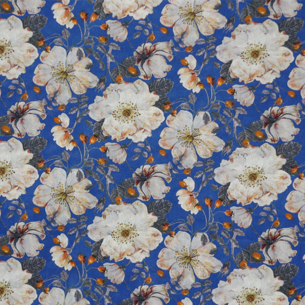 CREAM & ROYAL BLUE FLORAL 'DORSET ROSE' LIBERTY LAWN COTTON HANDKERCHIEF