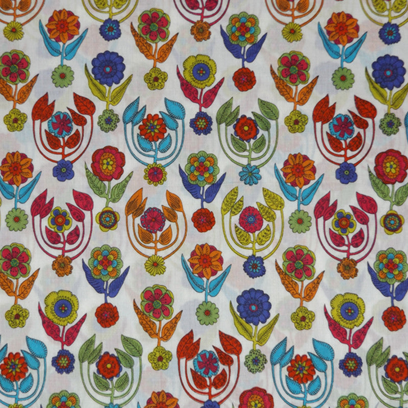 BRIGHT FLORAL 'DROXFORD' LIBERTY LAWN COTTON HANDKERCHIEF
