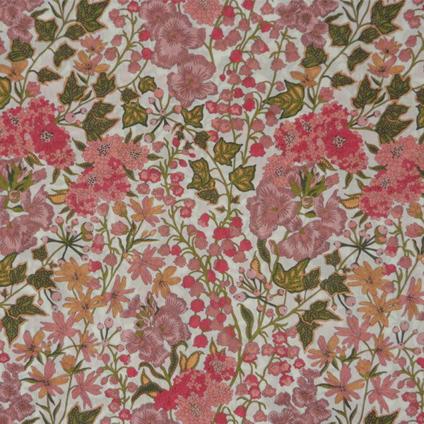 PINK FLORAL 'EDNA' LIBERTY LAWN COTTON HANDKERCHIEF