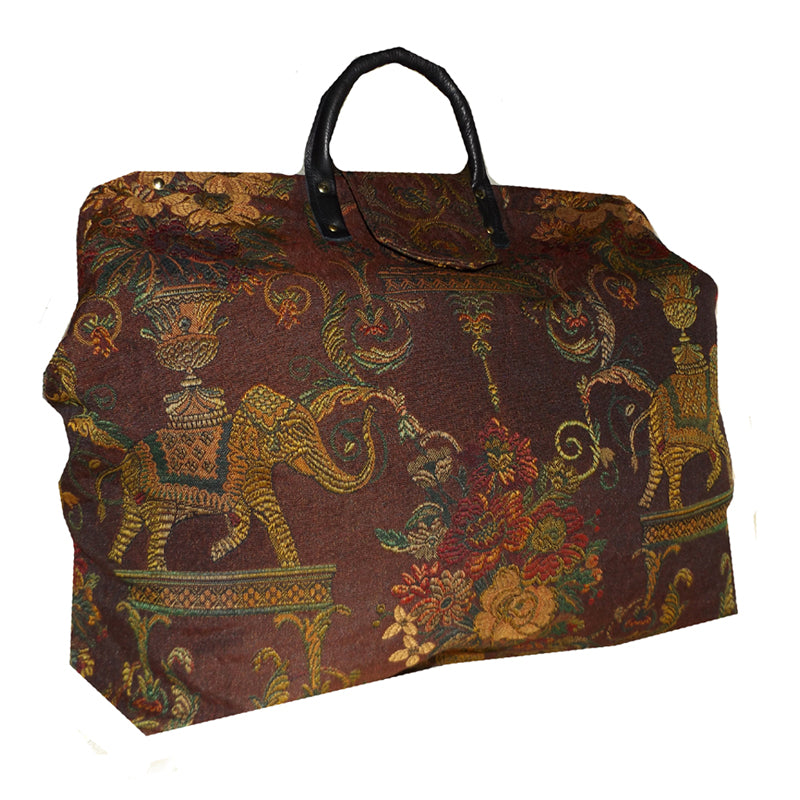 ELEPHANTS & FLOWERS WOVEN TAPESTRY CARPET BAG