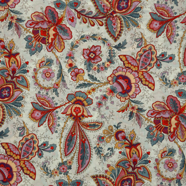 MULTICOLORED FLORAL PRINT 'FLORA BELLE' LIBERTY LAWN COTTON HANDKERCHIEF