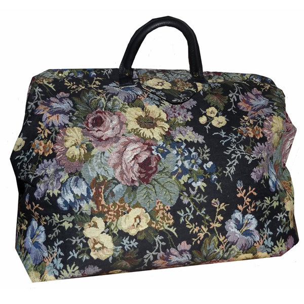 BLACK & MULTICOLORED FLORAL TAPESTRY CARPET BAG