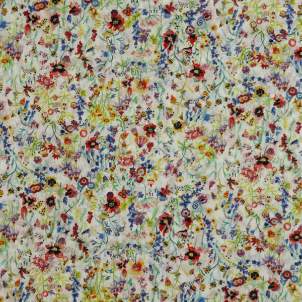 MULTICOLOR 'FLORAL PICNIC' LIBERTY LAWN COTTON HANDKERCHIEF