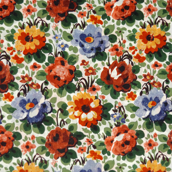 RED, PEACH & BLUE FLORAL 'FLORENCE' LIBERTY LAWN COTTON HANDKERCHIEF