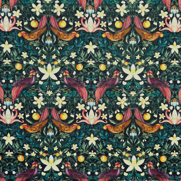 BROWN & MULTICOLOR 'FORBIDDEN FRUIT' LIBERTY LAWN COTTON HANDKERCHIEF
