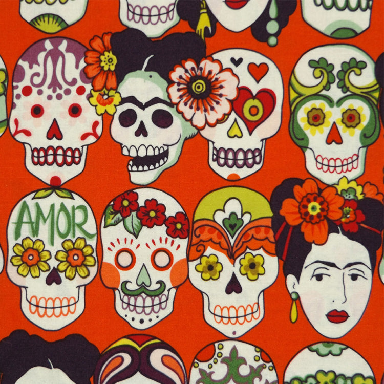 FRIDA & SKULLS - RED ORANGE MASK
