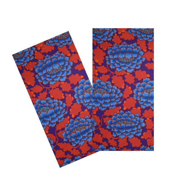 PERIWINKLE & RED FRILLY FLORAL NAPKIN SET