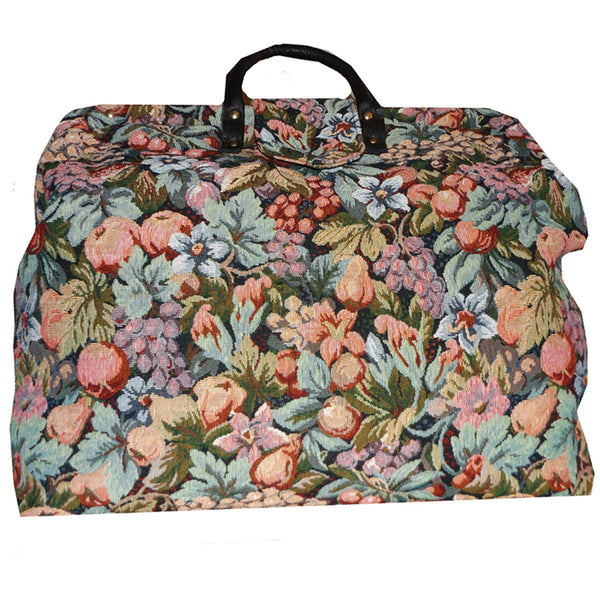 MULTICOLORED FLORAL TAPESTRY CARPET BAG
