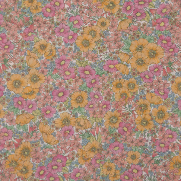 PINK & ORANGE FLORAL 'GLORIA' LIBERTY LAWN COTTON POCKET SQUARE HANDKERCHIEF