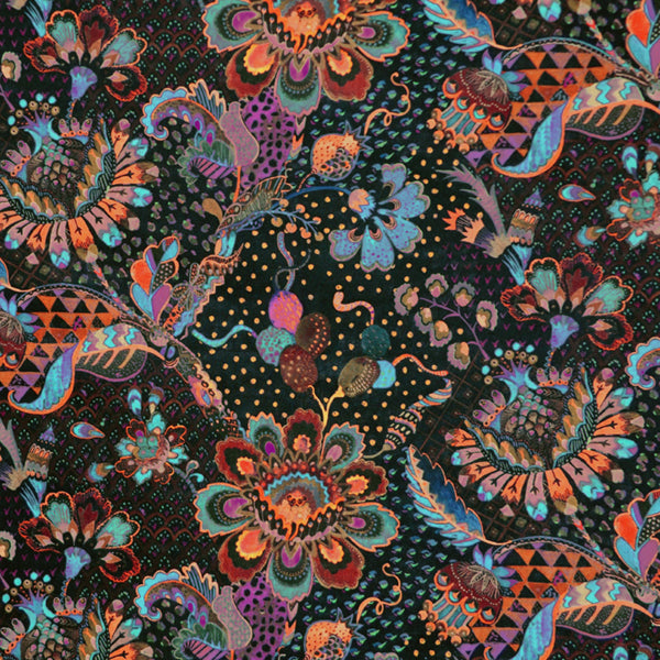 BLACK & MULTICOLOR FLORAL 'GRAND BAZAAR' LIBERTY LAWN COTTON HANDKERCHIEF