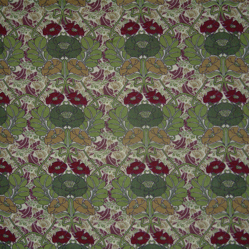 GREEN & BURGUNDY FLORAL 'JUGENDSTIL' LIBERTY LAWN COTTON HANDKERCHIEF