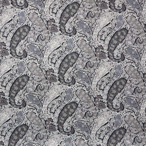 GREY & BLACK PAISLEY 'BOURTON' LIBERTY LAWN COTTON POCKET SQUARE HANDKERCHIEF