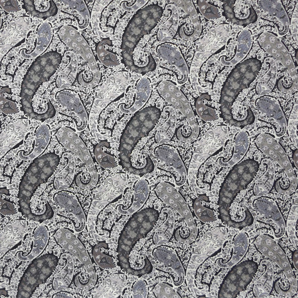 GREY & BLACK PAISLEY 'BOURTON' LIBERTY LAWN COTTON HANDKERCHIEF