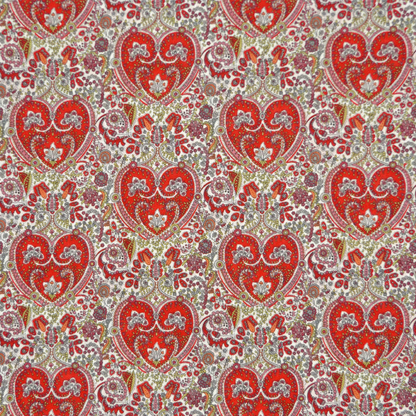 RED FLORAL HEARTS 'KITTY GRACE' LIBERTY LAWN COTTON HANDKERCHIEF