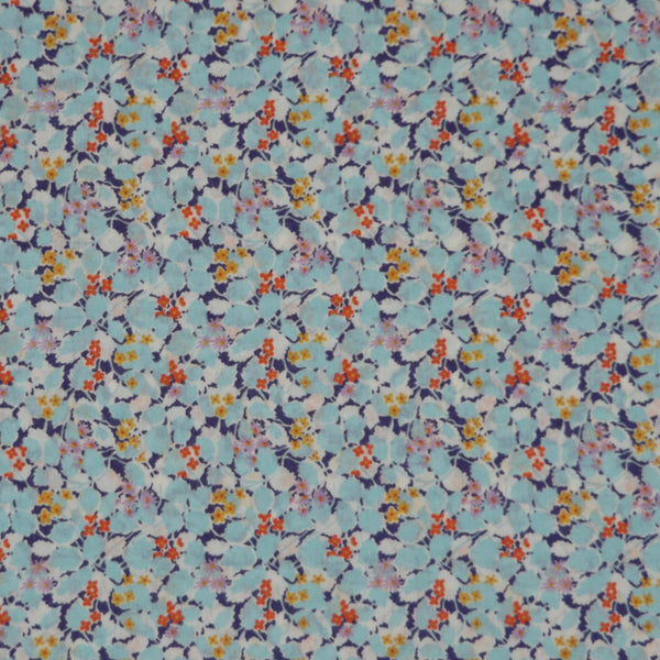 AQUA & MULTICOLOR LEAF PRINT 'HEDGEROW' LIBERTY LAWN COTTON HANDKERCHIEF