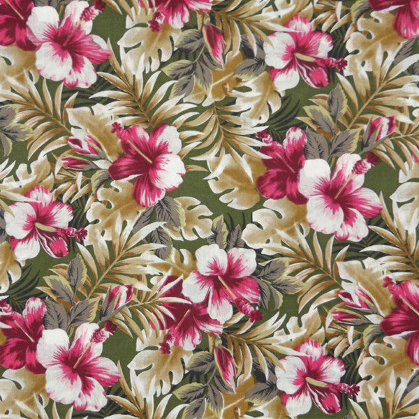 PINK & GREEN HIBISCUS FLORAL LAWN COTTON HANDKERCHIEF