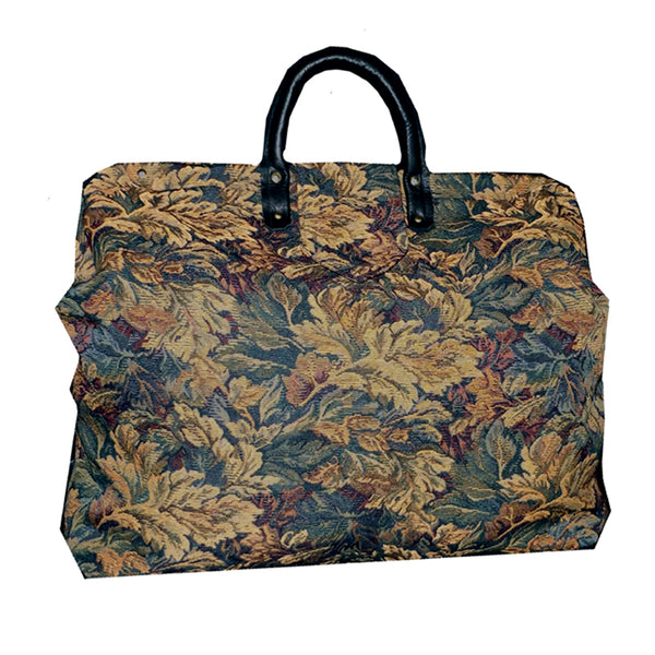 LEAVES ON HUNTER GREEN TAPESTRY CARPET BAG