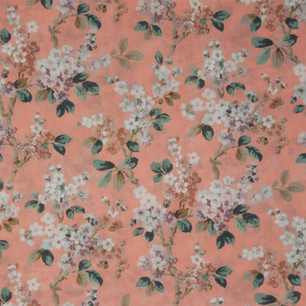 PEACH & CREAM FLORAL 'JOSEPHINE' LIBERTY LAWN COTTON POCKET SQUARE HANDKERCHIEF