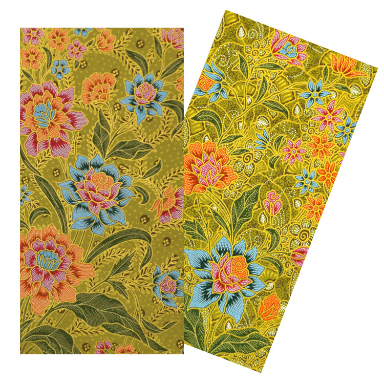 LEAF GREEN FLORAL BATIK NAPKIN SET