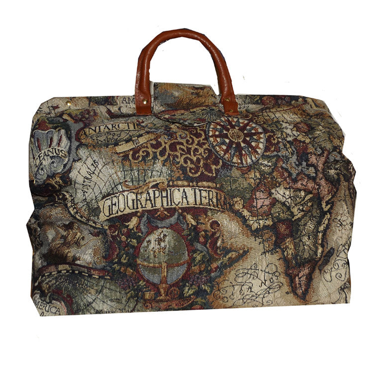 MAGELLAN'S MAP TAPESTRY CARPET BAG