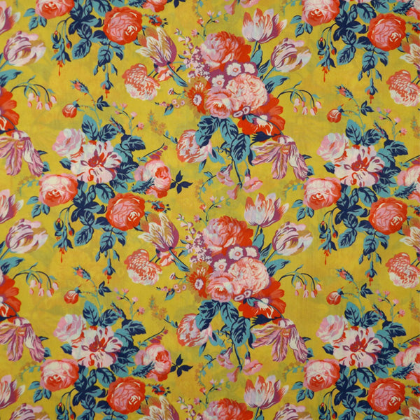 YELLOW & MULTICOLOR CLORAL 'MAGICAL BOUQUET' LIBERTY LAWN COTTON POCKET SQUARE HANDKERCHIEF