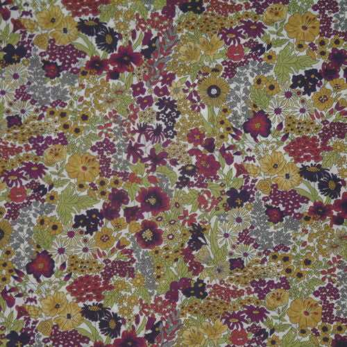 PURPLE MULTICOLOR FLORAL 'MARGARET ANNIE' LIBERTY LAWN COTTON HANDKERCHIEF