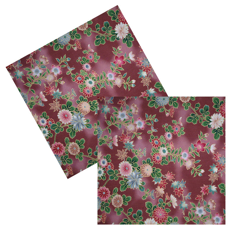 MAUVE ASIAN FLORAL COCKTAIL NAPKIN SET