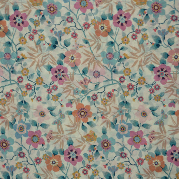 AQUA & MULTICOLOR FLORAL 'MINI PAVILION' LIBERTY LAWN COTTON HANDKERCHIEF