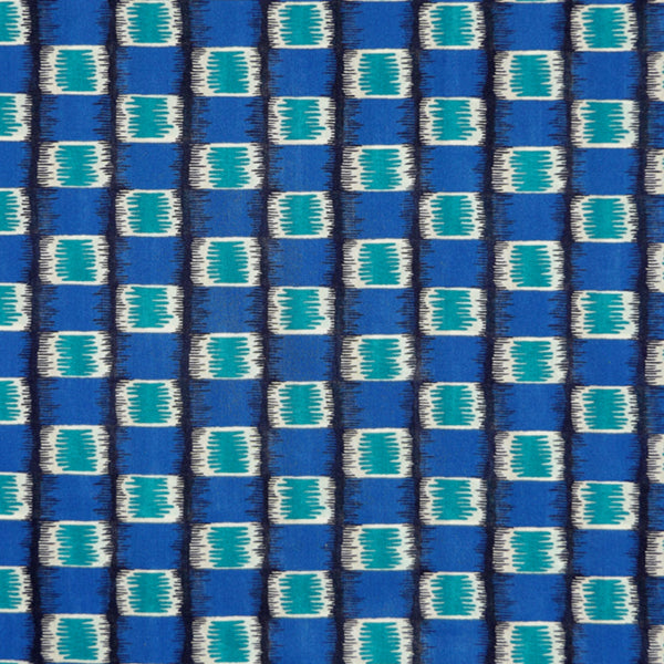 TURQUOISE & ROYAL BLUE GEOMETRIC PRINT 'MIRAGE STRIPE' LIBERTY LAWN COTTON HANDKERCHIEF