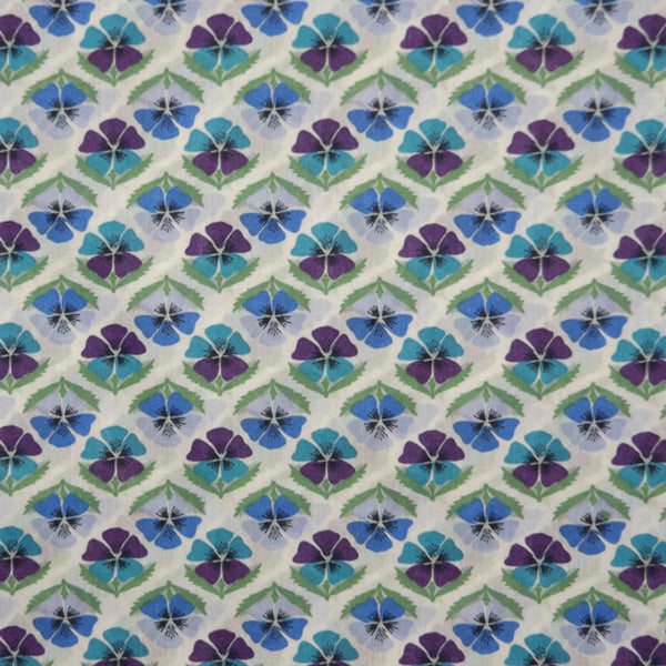 BLUE & LILAC PANSIES 'MIRANDA SKYE' LIBERTY LAWN COTTON HANDKERCHIEF