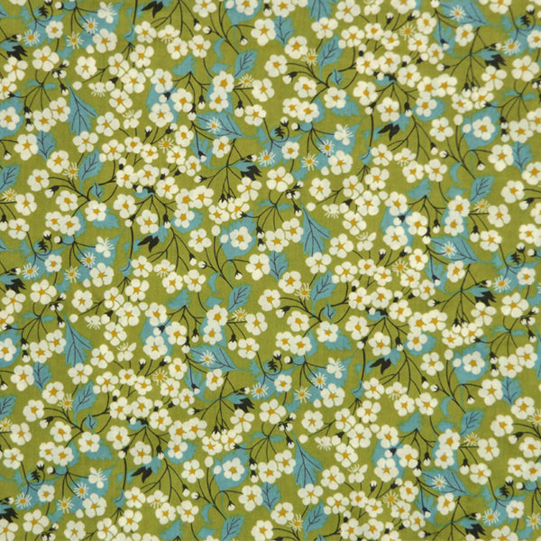 GREEN & BLUE FLORAL 'MITSI' LIBERTY LAWN COTTON HANDKERCHIEF