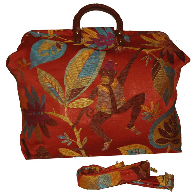 MONKEYING AROUND SATEEN TAPESTRY CARPET BAG