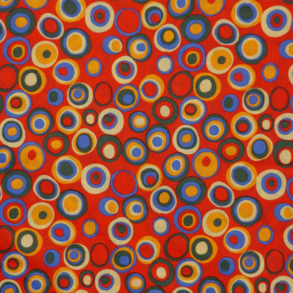 CIRCLES ON RED LAWN COTTON HANDKERCHIEF