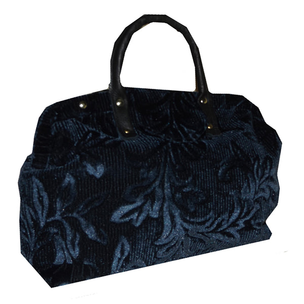 Navy Velvet Chenille Handbag Tapestry Carpet Bag