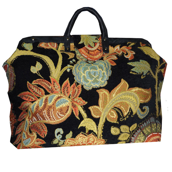 CORAL & AQUA PAISLEY BLOOMS CHENILLE TAPESTRY CARPET BAG