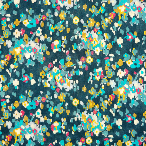 TEAL & MULTICOLORED FLORAL 'PAISLEY FLOWERS' LIBERTY LAWN COTTON HANDKERCHIEF