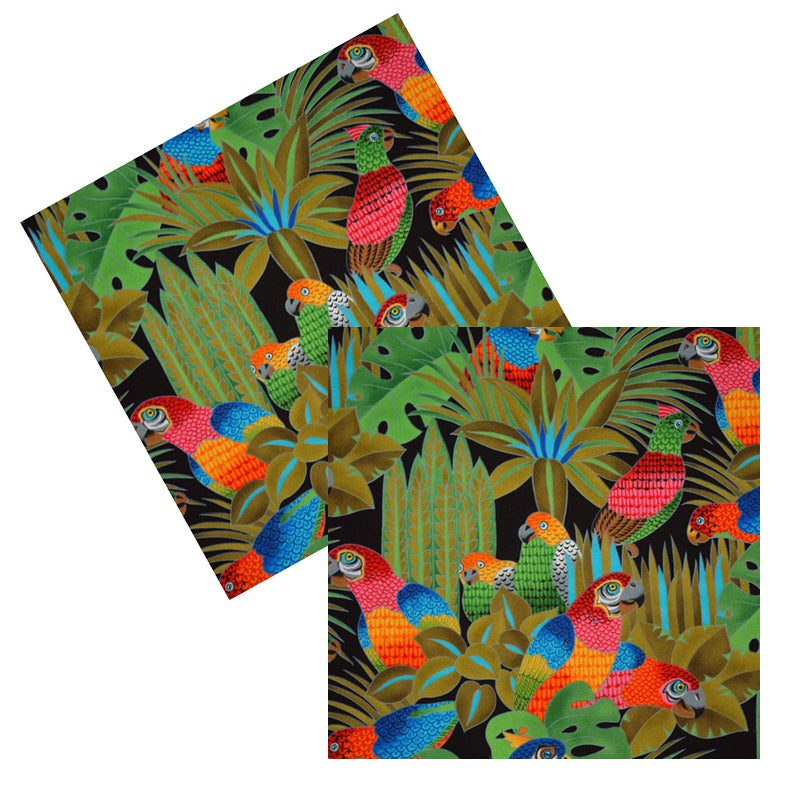 COLORFUL PARROTS COCKTAIL NAPKIN SET