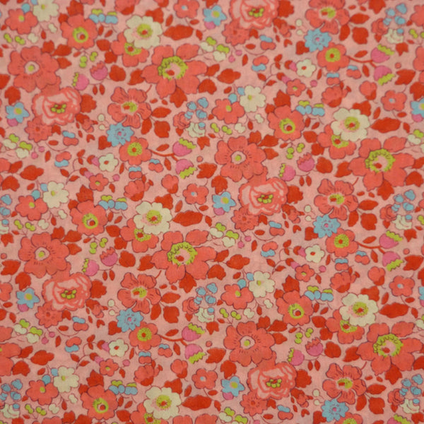 PEACH FLORAL 'BETSY' LIBERTY LAWN COTTON HANDKERCHIEF