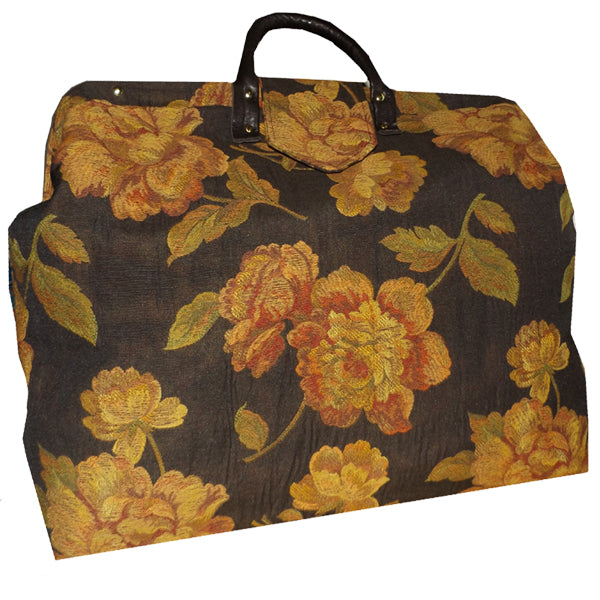 PEACHY RUSSET FLORAL ON CHOCOLATE BROWN WOVEN TAPESTRY CARPET BAG