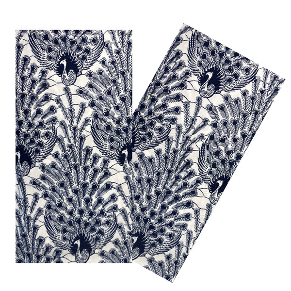 NAVY  PEACOCK BATIK NAPKIN SET
