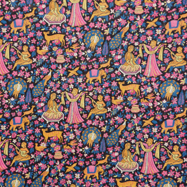 PINK & BLUE 'ENCHANTED FOREST' LIBERTY LAWN COTTON POCKET SQUARE HANDKERCHIEF