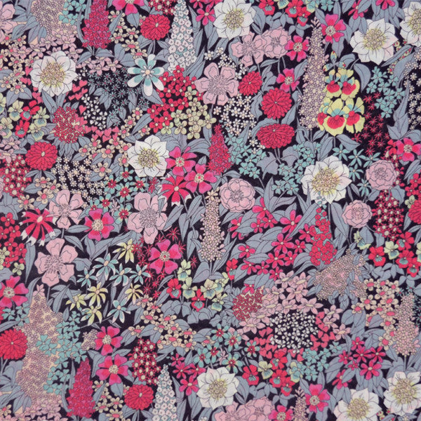 PINK & GREY FLORAL 'CIARA' LIBERTY LAWN COTTON HANDKERCHIEF