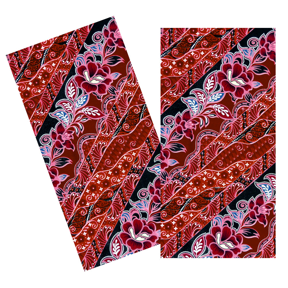 PINK & RED DIAGONAL FLORAL BATIK NAPKIN SET
