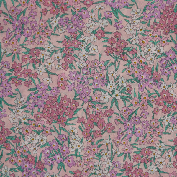 PINK FLORAL 'SEA BLOSSOMS' LIBERTY LAWN COTTON HANDKERCHIEF